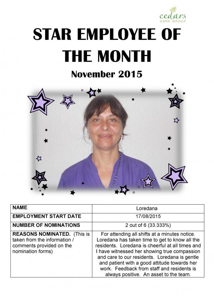 November 2015 Star Employee of the Month, Ellenborough - Cedars Care