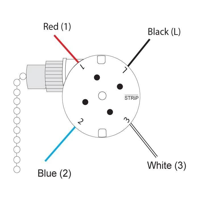 Zing Ear ZE-208s E89885 3 Speed 4 Wire Pull Chain Ceiling Fan Switch