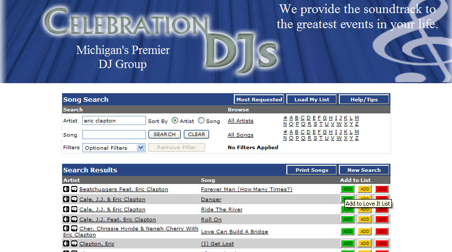 Entertainment Playlist Selection  The Music Makes the Event - wedding song list for dj template