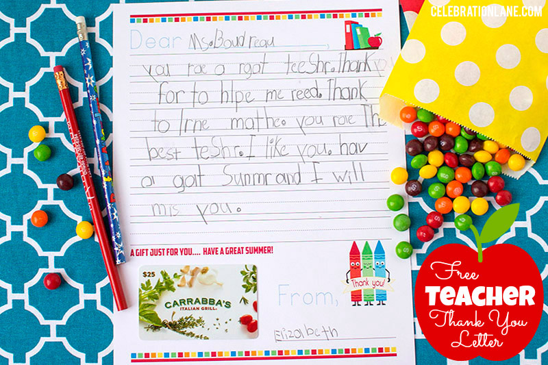 Free Teacher Thank You Letter Gift Idea - ending thank you letters