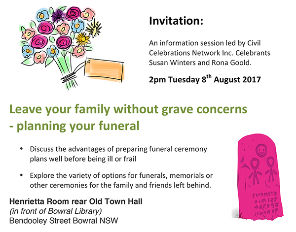 Leave your family without grave concerns - planning your funeral - funeral ceremony invitation