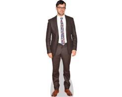 A Lifesize Cardboard Cutout of Simon Bird wearing a brown suit