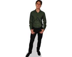 A Lifesize Cardboard Cutout of Joe Thomas wearing a green shirt