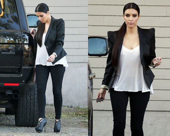Kim Kardashian Leaving La Studio In Yves Saint Laurent