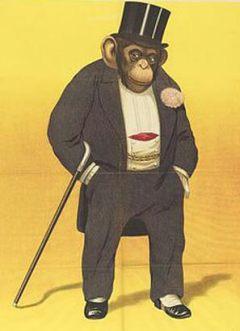 La scimmia col gilet è una caricatura