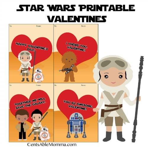 FREE Printable Star Wars Valentine\u0027s Day Cards - Centsable Momma