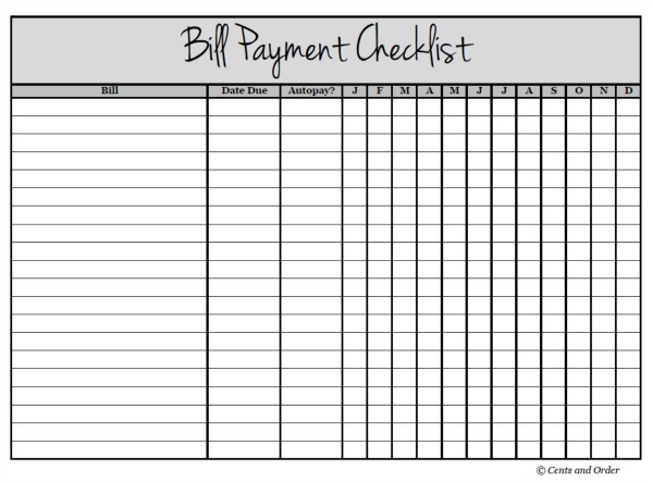 Free Printable Bill Payment Checklist You Can Download Now