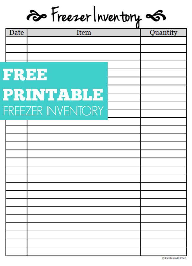 Free Printable-Freezer Inventory Sheet - free inventory sheets to print