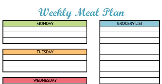 Free Weekly Meal Planning Printable With Grocery List - printable meal planner