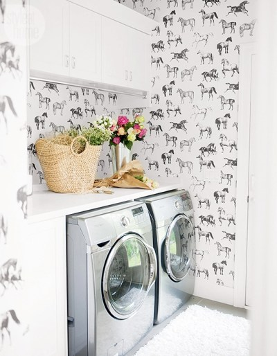Wallpapered Laundry Rooms | Centsational Style