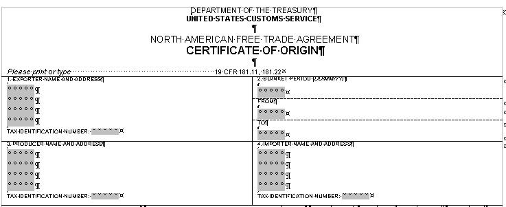 Certificate of Origin Form - certificate of origin template