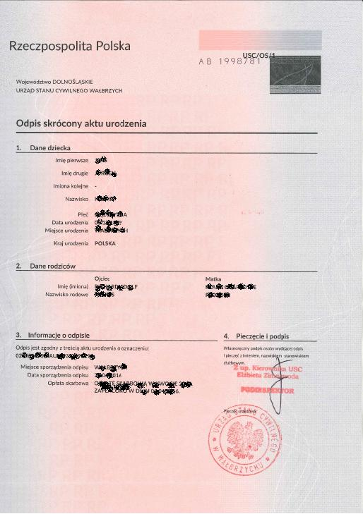 How to obtain documents from the Polish civil registry office - birth certificate
