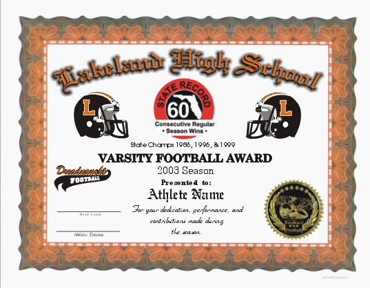 Full Color Certificates - football certificate template