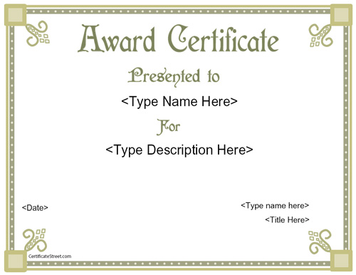 Printable award certificates free passionative printable award certificates free yadclub Gallery
