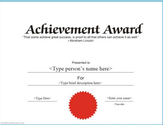 free-template-printable-certificates-of-achievement-pdf - Free Blank Printable Certificates