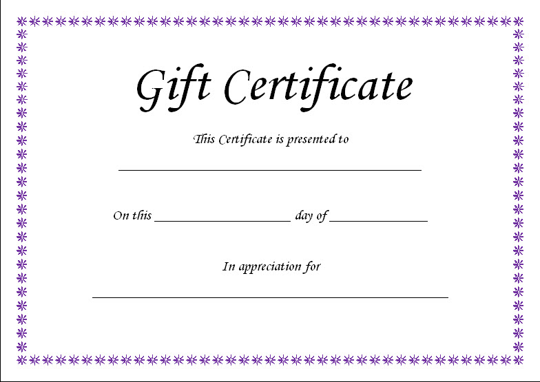 free printable gift certificate template word - Geccetackletarts - free printable certificate templates word