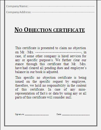 No Objection Certificate Template Certificate Templates - no objection certificate template
