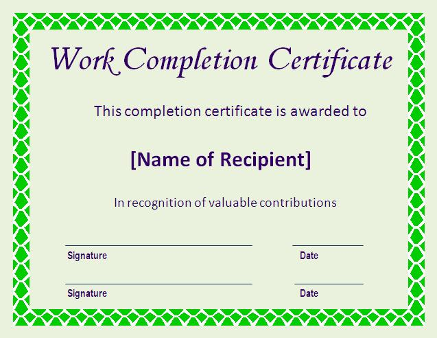 Completion certificate format env 1198748 resumeoud certificate of completion template certificate templates completion certificate format yelopaper Images
