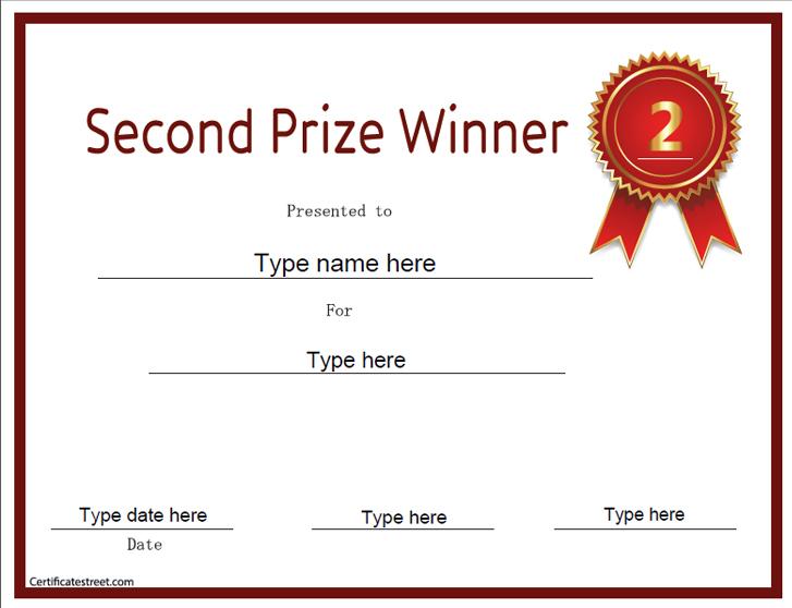Prize Certificate Template second prize certificate template - first place award template