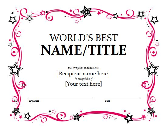 5 Printable PDF Certificates Certificate Templates - award certificate template