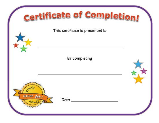 Completion certificates Certificate Templates - printable certificate of attendance