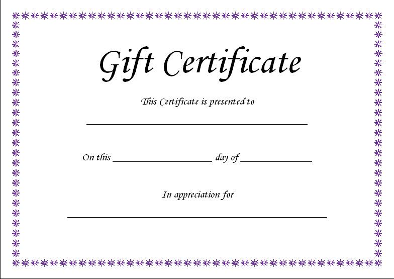 30 Printable Gift Certificates Certificate Templates - gift certicate template