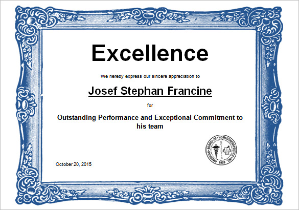 certificate of excellence in word format - Josemulinohouse