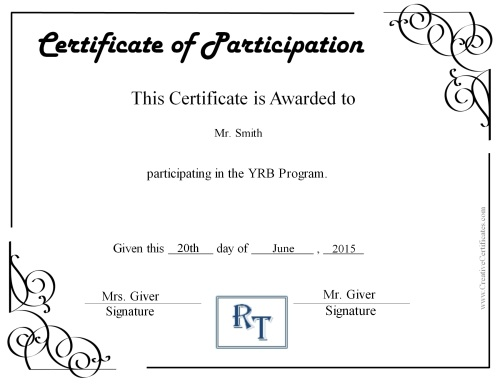 certificate-of-participation-printable - certificate of participation free template