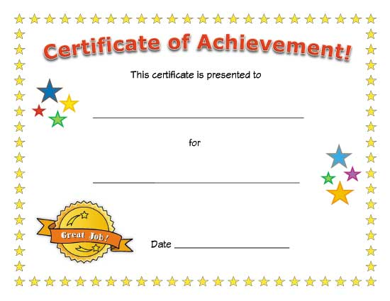 Attractive Sample Certificates For Kids Resume Template Sample