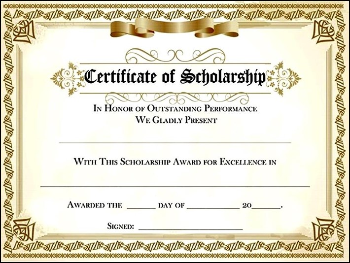 Certificate of Completion Template PSDs Certificate Templates - sample scholarship certificate