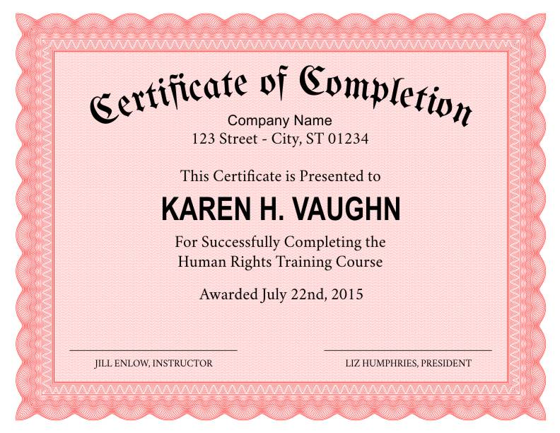 Certificate of Completion Templates Certificate Templates - blank certificates of completion