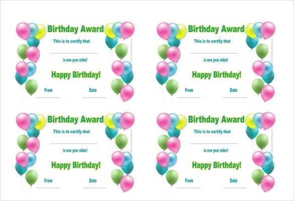 Printable Birthday Certificates Certificate Templates - free certificate template for kids