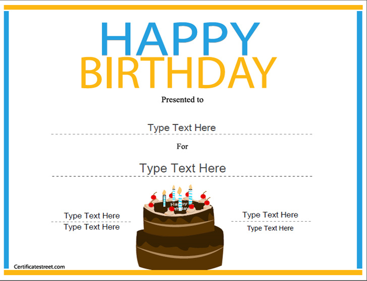 Printable Birthday Certificates Certificate Templates
