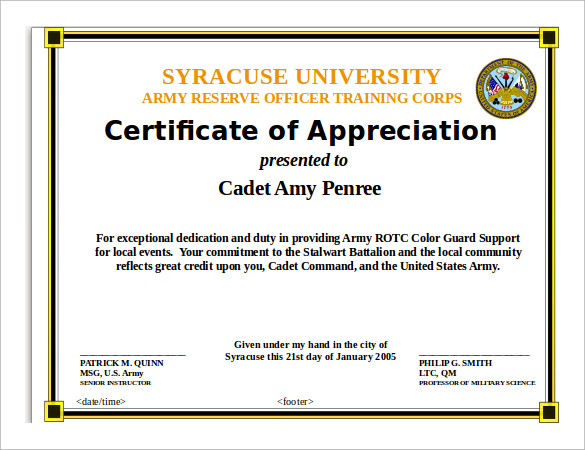 Army Certificate Of Training Template certificate of training – Army Certificate of Appreciation Template