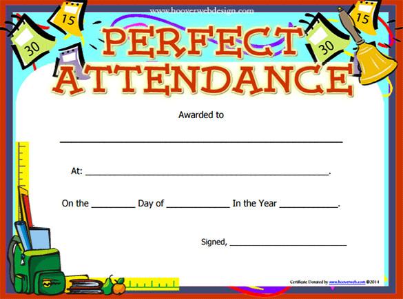 Perfect Attendance templates Certificate Templates - free printable perfect attendance certificate template