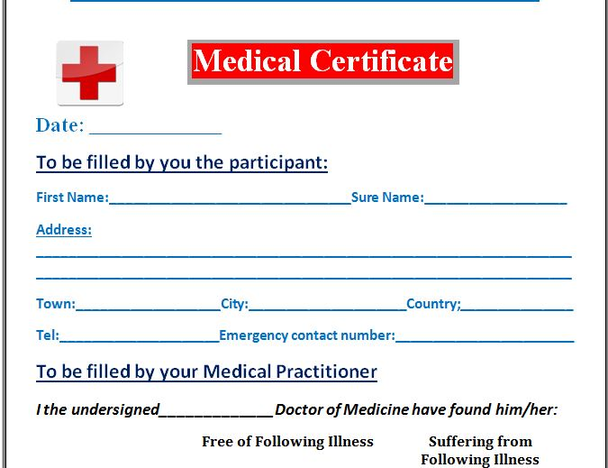 download medical certificate form - Militarybralicious - medical certificate download