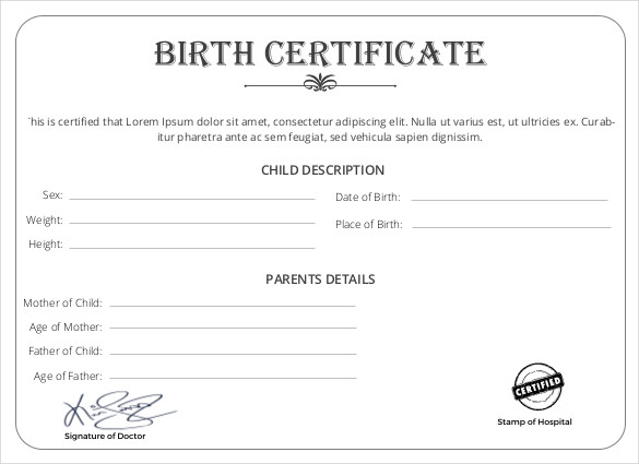 Baby Birth Certificate Template - mandegarinfo