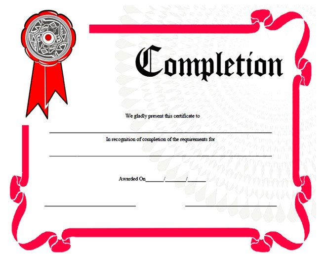 Blank Certificate of Completion Template - blank certificate template