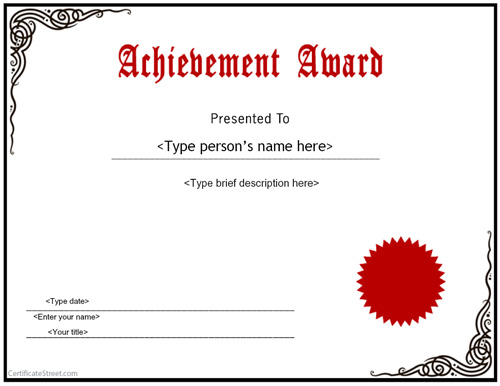 Word Achievement Award Certificate red seal