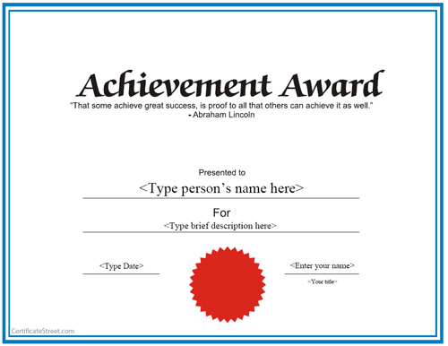 26 Achievement Certificates for 2018 Certificate Templates
