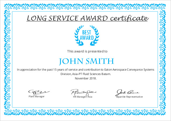 certificate of long service award sample certificate