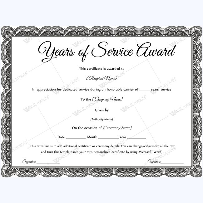 Years of Service Award Templates Certificate Templates - awards certificates templates for word