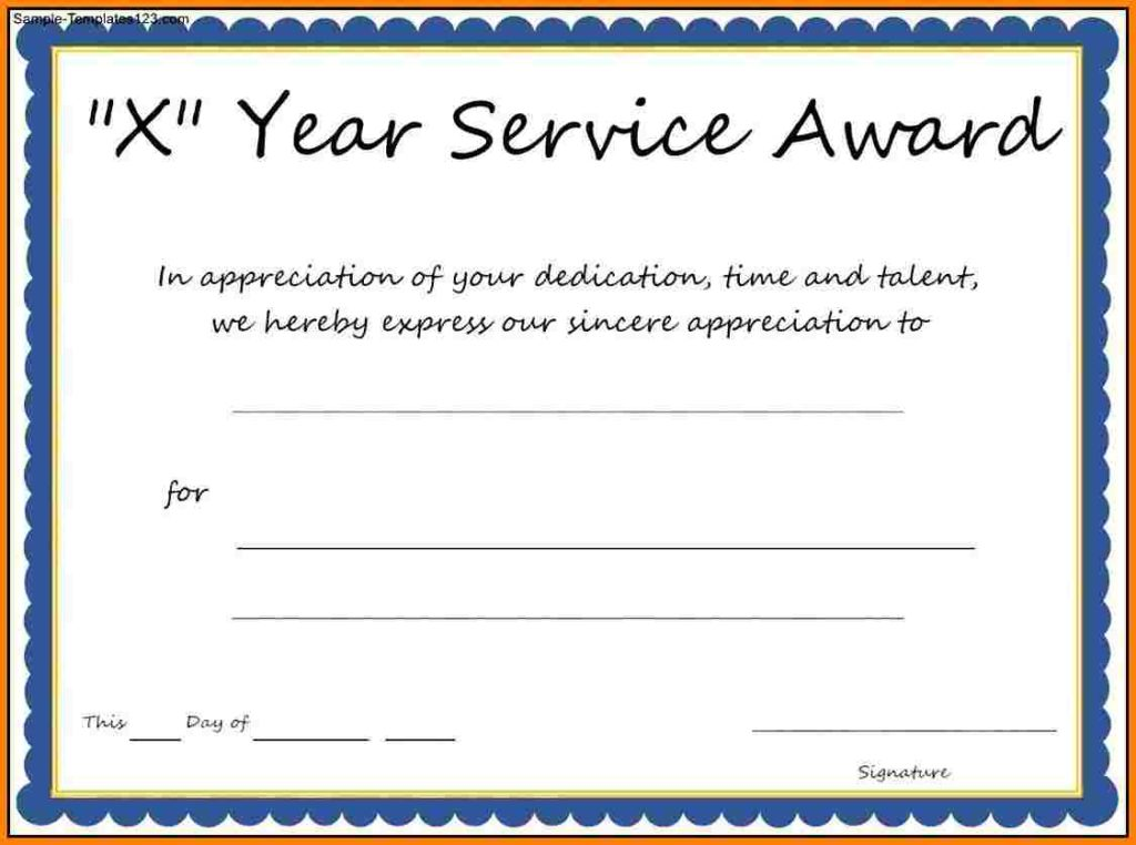 Years of Service Award Templates Certificate Templates - Certificate Of Service Template