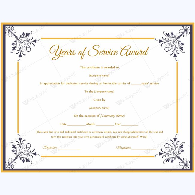 Years Of Service Award Templates Certificate Templates