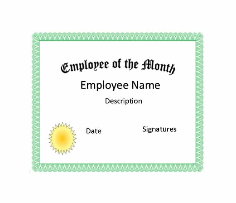 Certificate Templates - free employee of the month certificate template