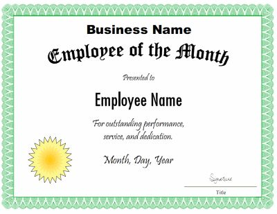 Employee of the Month Certificates Certificate Templates