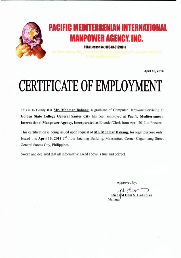 Certificate Of Employment certificates templates free
