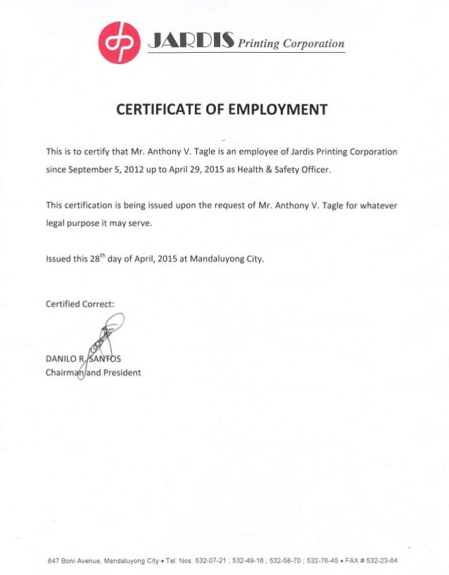 Certificate of employment Scribd - mandegarinfo