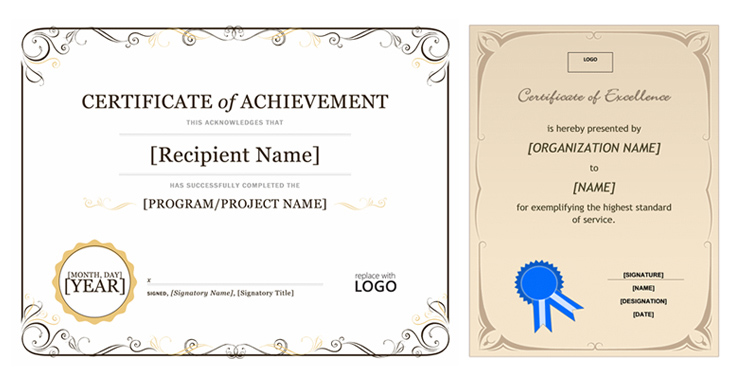 ms office certificate templates
