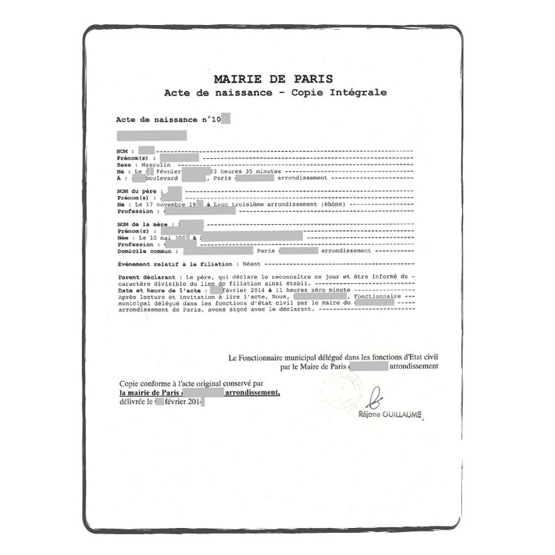 Certified  Official Translation Birth Certificate ACS Onlineshop - birth certificate